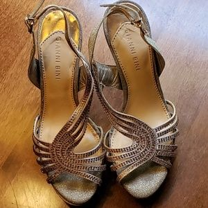 Gianni Bini gold strappy heels